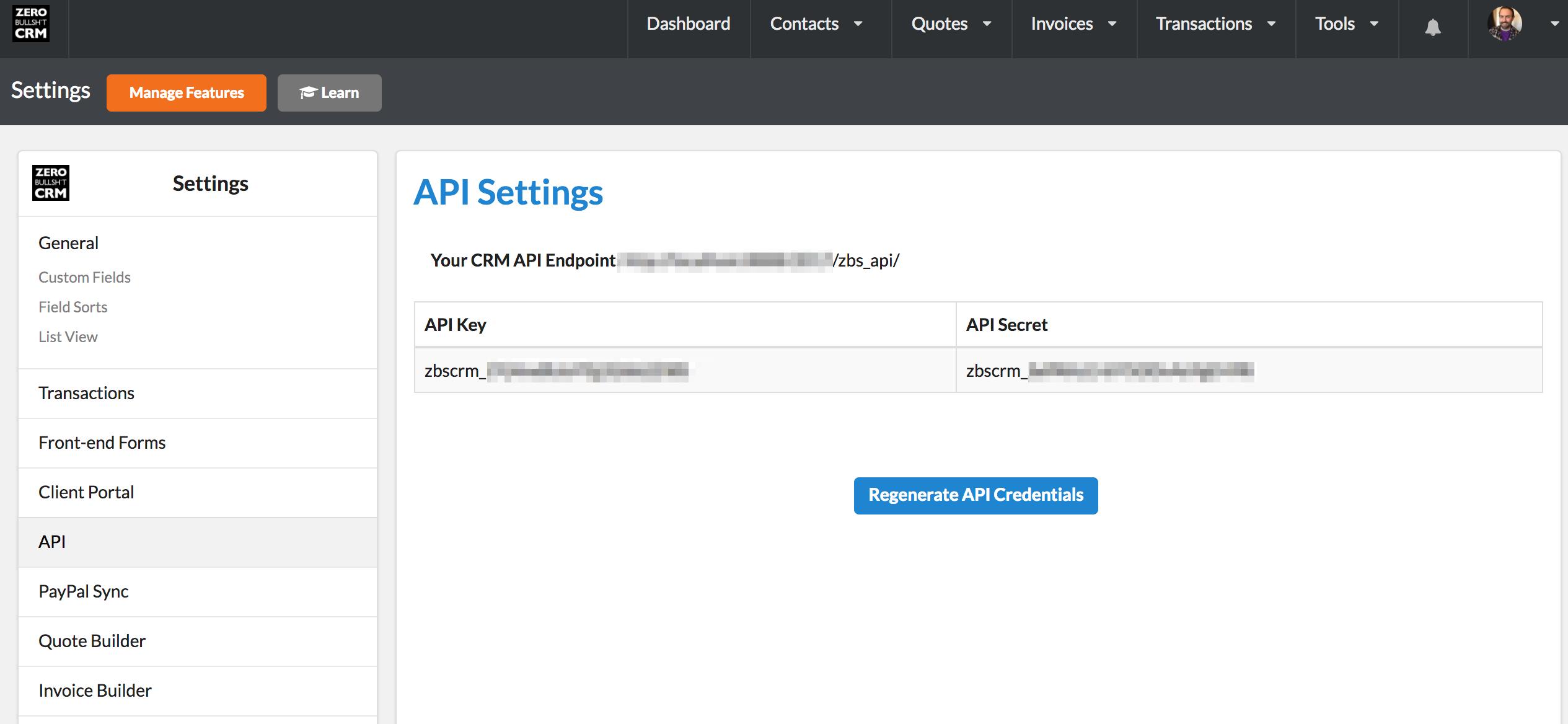 Zero BS CRM API Key and API Secrets – Zero BS CRM
