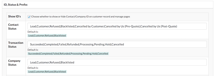 Custom Statuses – Zero BS CRM